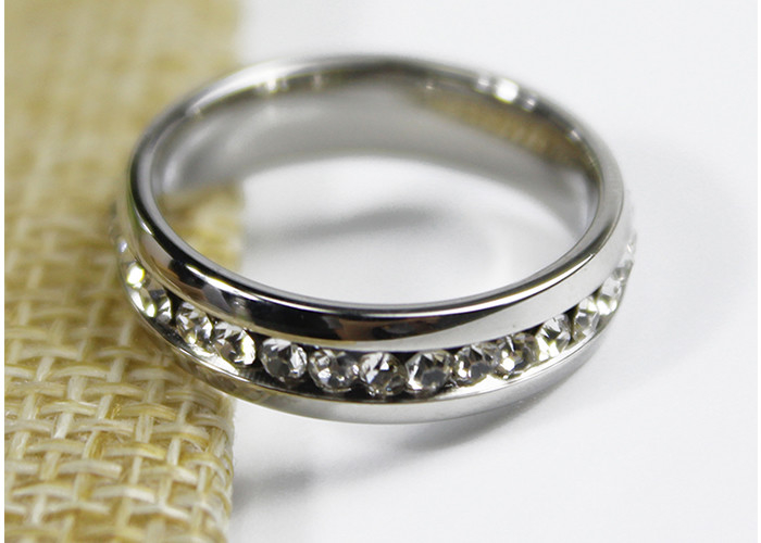 Engagement 5mm Zircon Crystal Jewelry Stainless Steel Ring For Girls